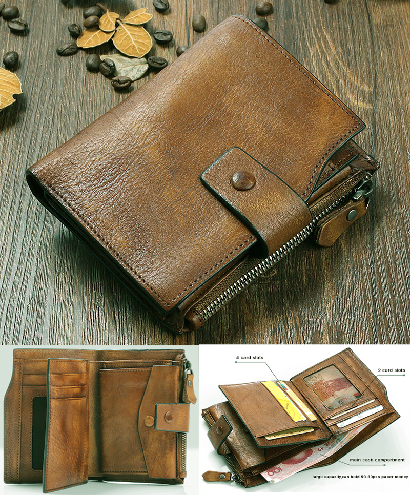 Fashion Vintage Genuine Leather Men Wallet Leather Wallet men purse vertical short money bag male wallet