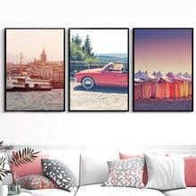 Building Canvas Art Print Painting Poster Landscape Picture Cars Wall Art Canvas Sea Posters and Prints Living Room Unframed выключатель 2 клавишный simon серия 15 с индикатором белый