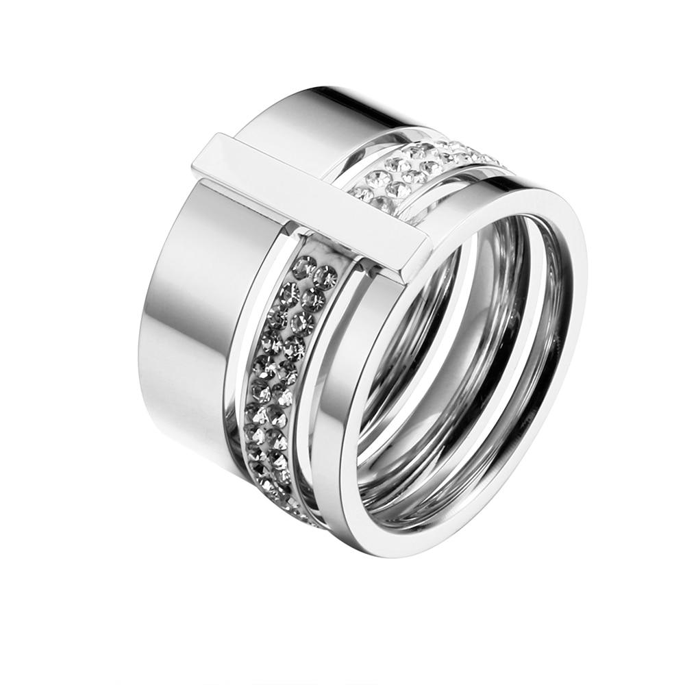 Rustfritt stål Rose Gold Rings for Woman Menn Stones og krystaller - Mote smykker - Bilde 3