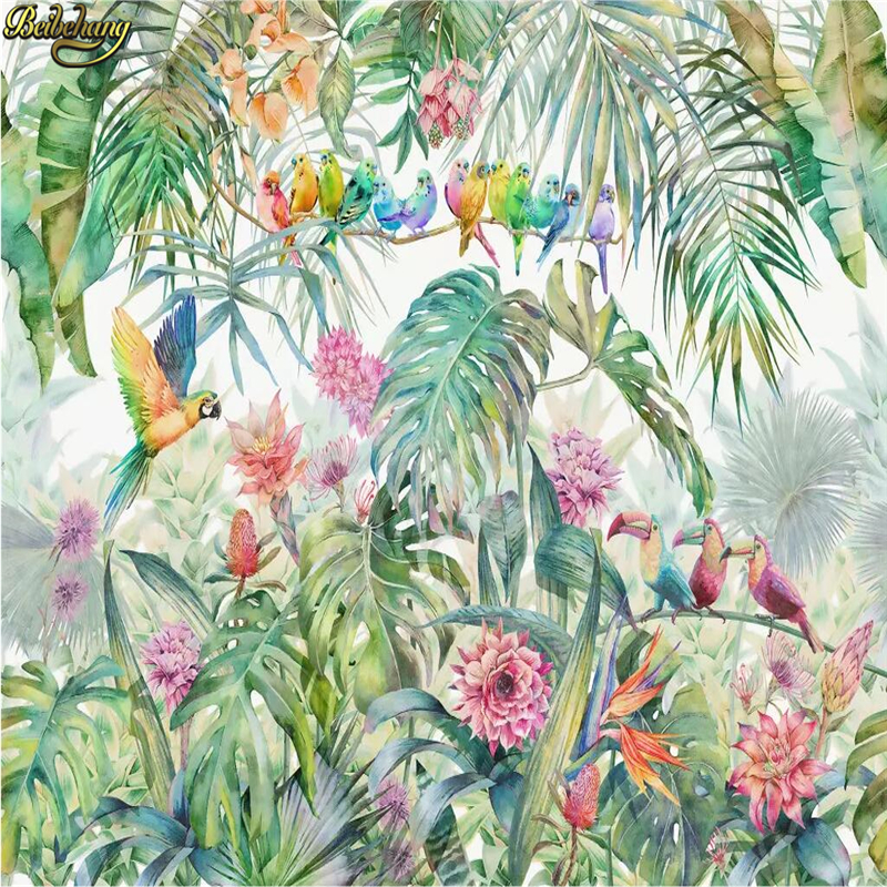 Beibehang Custom American Idyllic Rain Forest Parrot Tortoise Palm Tree Leaf Mural Wallpapers For Living Room Wallpaper Bedroom