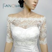 Ivory White Boat Neck Beaded Lace Half Sleeves Lace Bridal Bolero Wedding Accessories Off shoulder Wedding Jacket