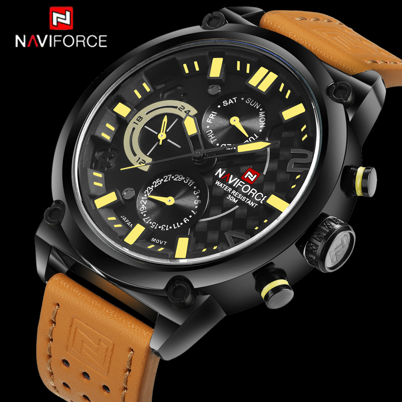 Mens Watches Top Brand Luxury Brand NAVIFORCE Casual Quartz Watch Men Leather Sport Wristwatches Waterproof Relogio Masculino 2017 new top fashion time limited relogio masculino mans watches sale sport watch blacl waterproof case quartz man wristwatches