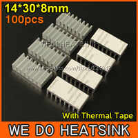 Free Shipping 100Pcs/Lot 14*30*8 mm DIY fans & cooling Heatsink Aluminum Profile Cooler With Thermal Adhesive Tape