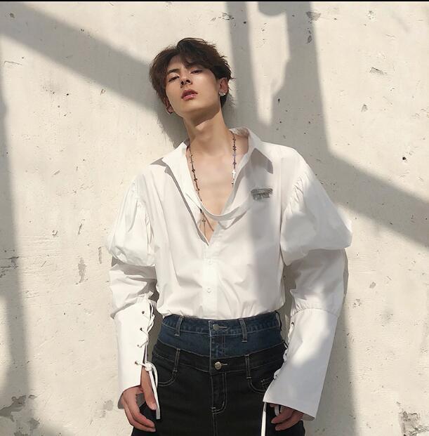 2018 Palace vintage cravate manches chemise d'été version coréenne de la mode coton à manches longues pouces chemise