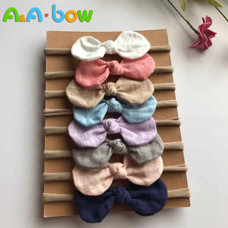 4 Pcs/lot High Quality Handmade solid Nylon Headband Bow Headbands For cute baby Girls Hair Accessories Headwear cloth head band