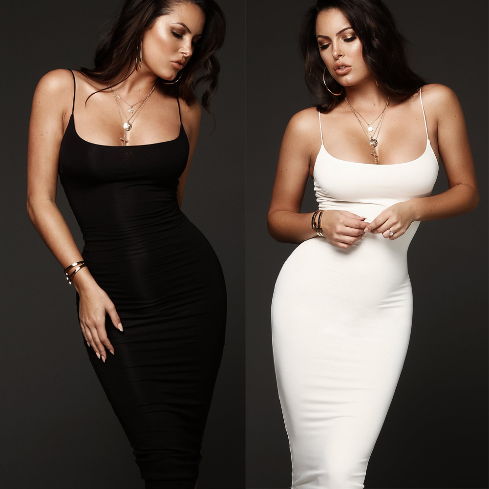 Sexy Women Bodycon Black Dress Robe Sleeveless Spaghetti Straps Solid Pencil Dresses Evening Club Wear Vestidos Mujer