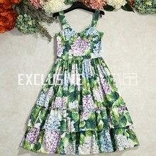 Svoryxiu летние дизайнерские платье Женская Высокое качество многоуровневыми оборками Зеленый оставьте печатных спагетти ремень чистый Хлопковое платье
