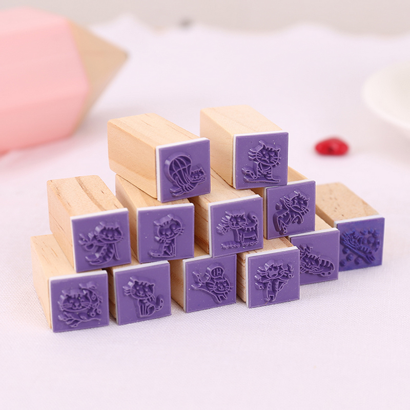 12 pcs/box mini Cute kitten stamp DIY wooden rubber stamps for scrapbooking stationery scrapbooking standard stamp