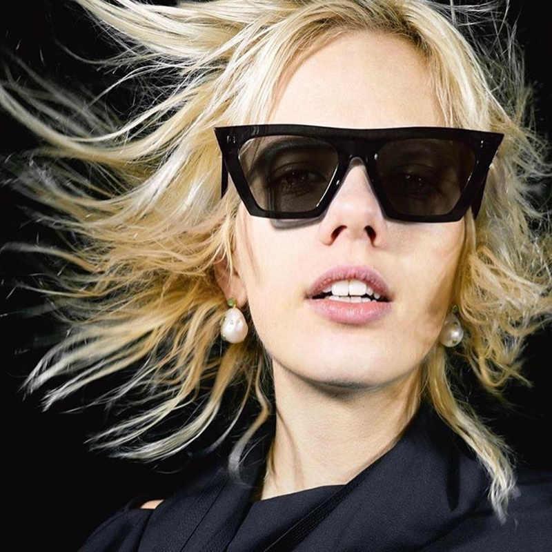 YOOSKE plat haut oeil de chat lunettes de soleil femmes marque concepteur rétro surdimensionné lunettes de soleil homme Rectangle lunettes femme lunettes de soleil