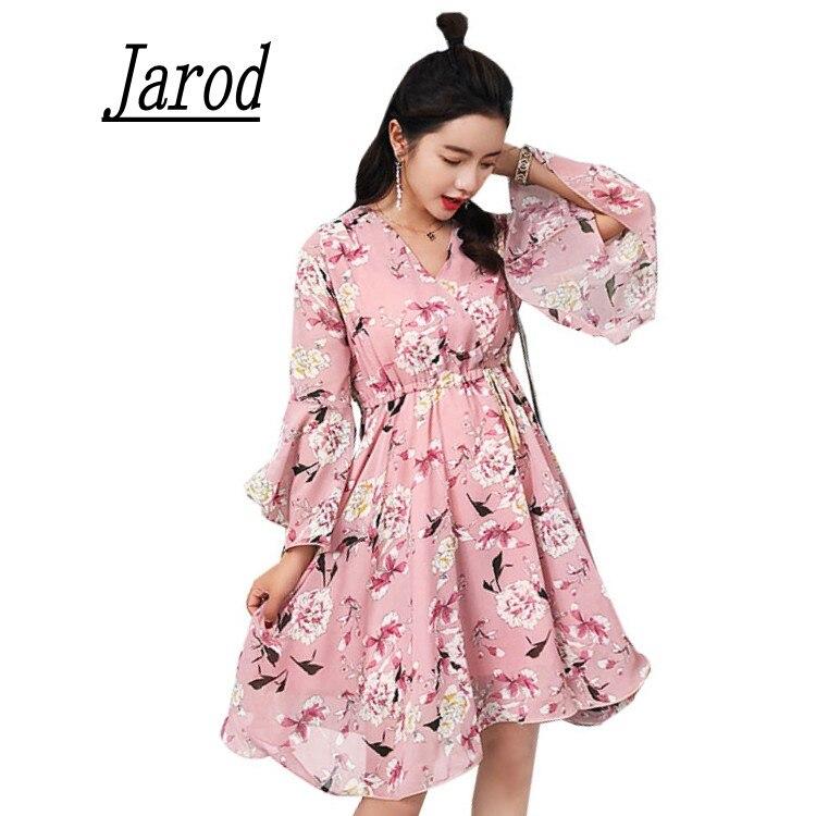 2018 mujeres elegante Rosa floral vestido de gasa Flare manga ...