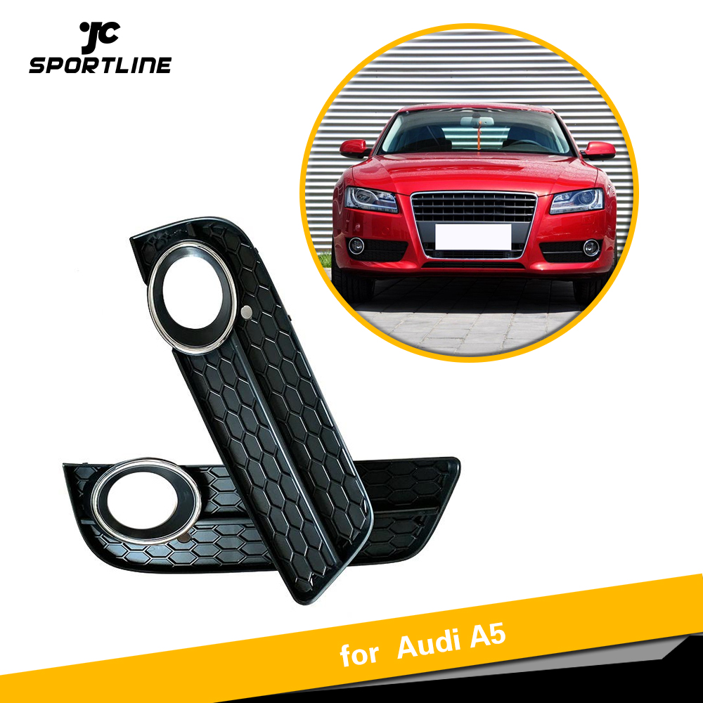 For Audi A5 2009 2011 Front Bumper Fog Light Lamp Racing Grille Grill Cover For Coupe/Sportback Chrome Trim|Racing Grills|   - title=