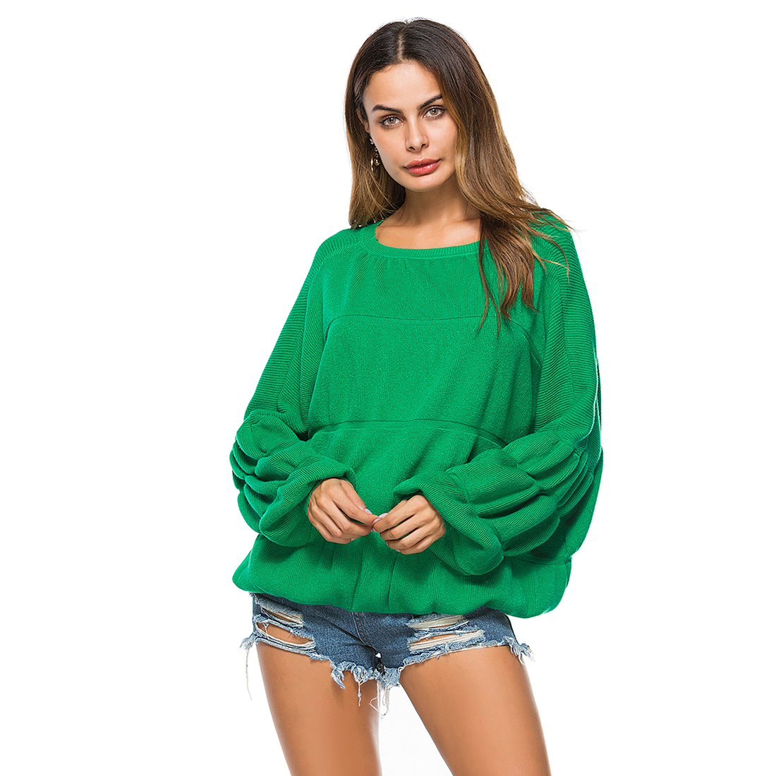 2017 new sweater women O-neck sweater long sleeve pullover female green black sweater lady Fashion Sweater Women