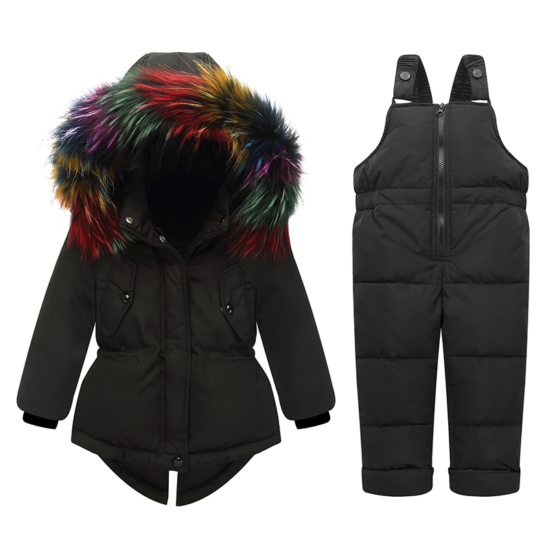 Image 4 - 2019 Russian Winter children clothing sets Warm duck down jacket for baby girl children's coat snow wear kids suit Fur Collar-in Down & Parkas from Mother & Kids