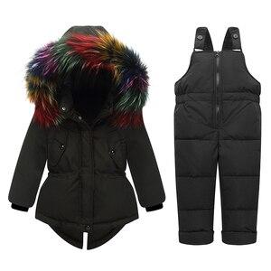 Image 4 - Russo inverno crianças conjuntos de roupas pato quente para baixo jaqueta para o bebê da menina das crianças casaco de neve wear crianças terno gola de pele