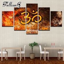 FULLCANG Diy 5PCS Full Square Diamond Embroidery Muslim Culture 5D Painting Cross Stitch Mosaic Needlework Kits D934