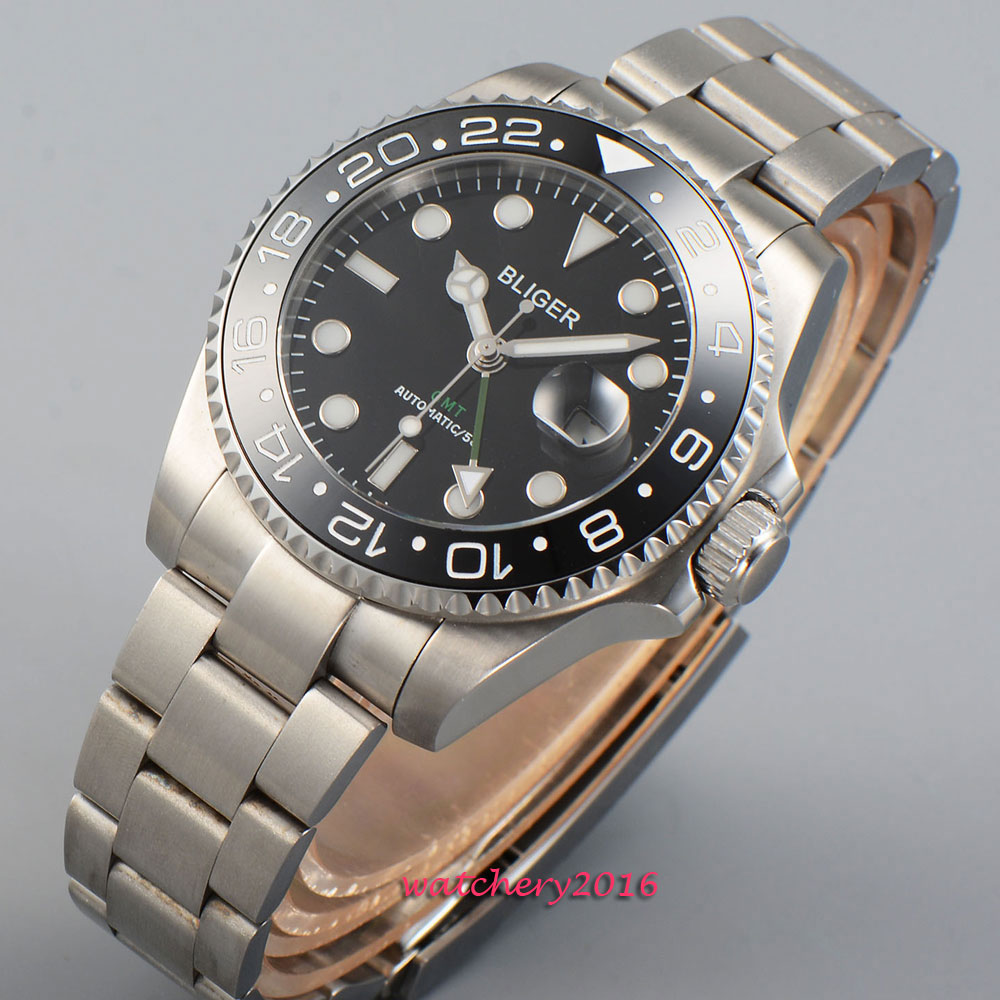43mm Bliger Black dial GMT Sapphire Crystal 2019 New Hot Top Brand ceramic bezel luminous marks Automatic Mechanical Men 39 s Watch in Mechanical Watches from Watches