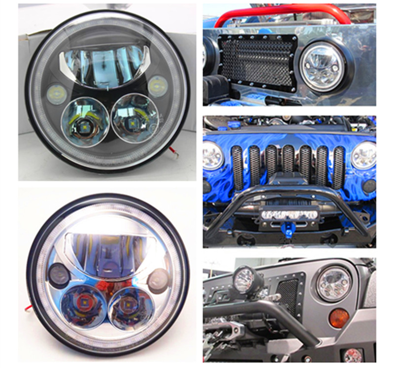 7 Inch Round 12V LED Chrome Black Headlights Halo Angle Eyes DRL Projector for Wrangler JK LJ TJ and Harley led headlamp in pair