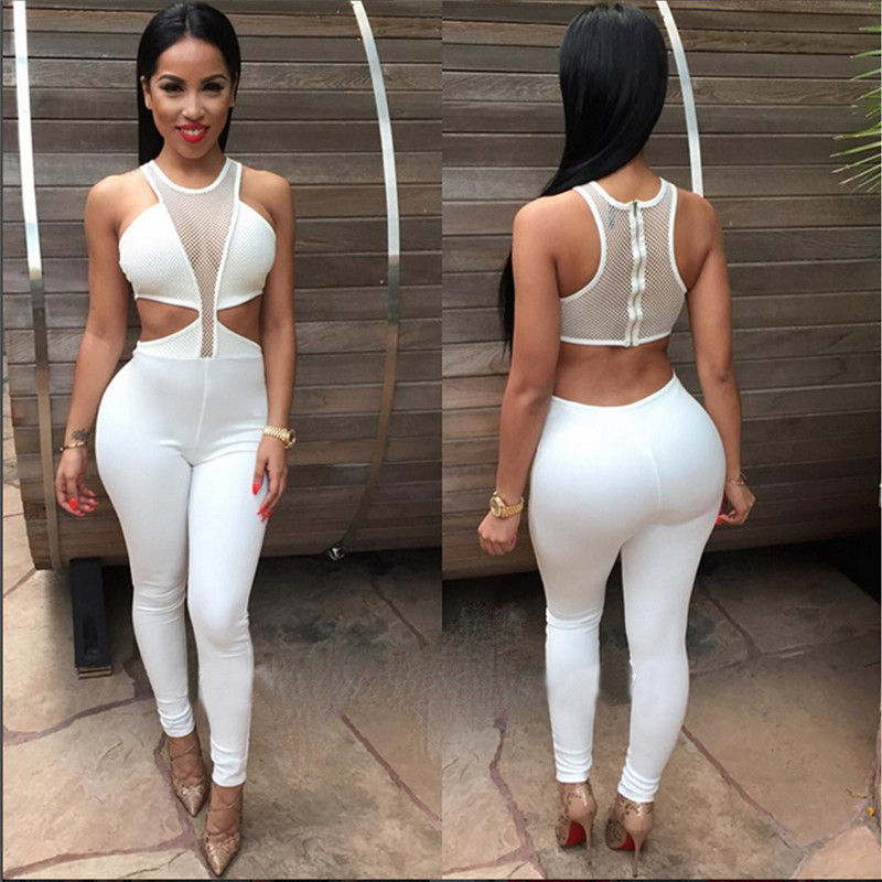 2016 Summer Women Sexy Skinny Hollow Out Rompers Long Pants Solid See Through -2980