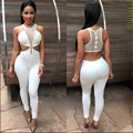 2016 summer women sexy skinny hollow out rompers long pants solid see through bodysuits women elegant summer jumpsuits MQ226