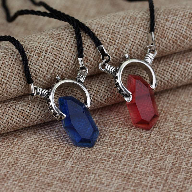 Takerlama Devil May Cry 5 Necklace Dante Vergil Red Blue Crystal Pendant Necklace For Women Men Fashion Jewelry Cool Accessories