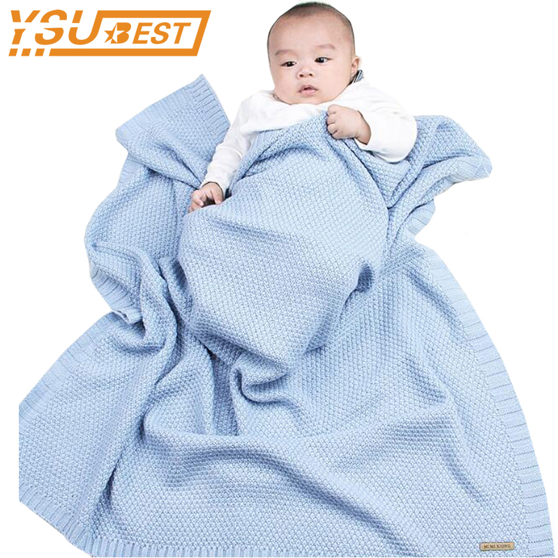 High Quality Candy Color Infant Woolen Blanket Children 100% Organic Cotton Knitted Baby Blanket for Boys Girls Kids Blanket