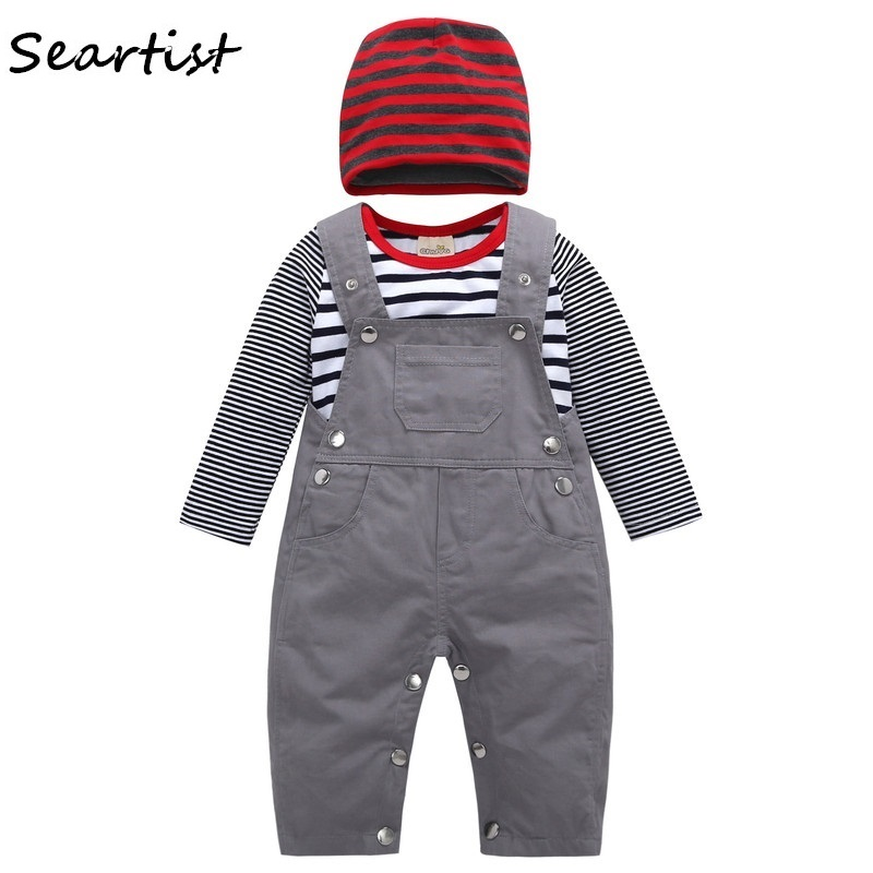 Seartist 2018 New Newborn Clothing Set Cap+Bodysuit+Overalls Baby Girl Boy Spring Striped Clothes Jumpsuit Striped Overalls 46G