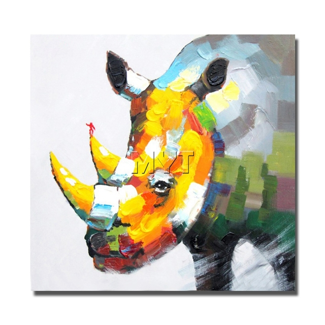 Nashorn Wilde Tier Leinwand Bilder Handgemalte Moderne Wandkunst Dekoration  Für Wohnzimmer Dekor Freies Verschiffen