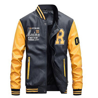 AFS JEEP New Men Embroidery Baseball Jackets Coats Pu Faux Leather Slim Fit Zipper Casual College