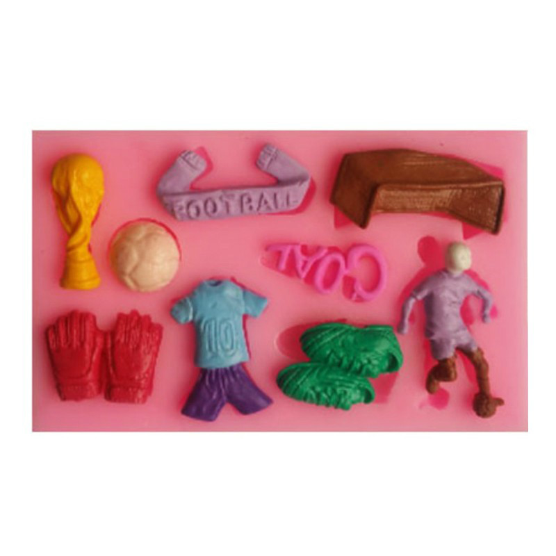 1pcs Football Sport Series Fondant 3D Molds Silicone Soap Candle Moulds Sugar Craft Tools Chocolate Moulds Bakewear