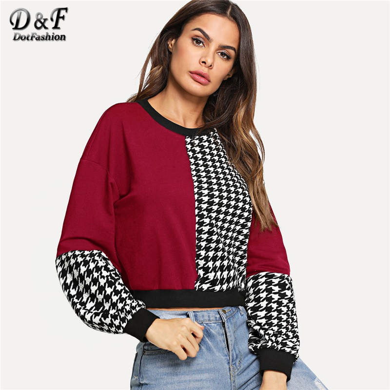 Dotfashion Colorblock Sweatshirt Women Casual Autumn 2019 Clothing Ladies Spring Long Sleeve Clothes Womens Sweatshirts Pullover