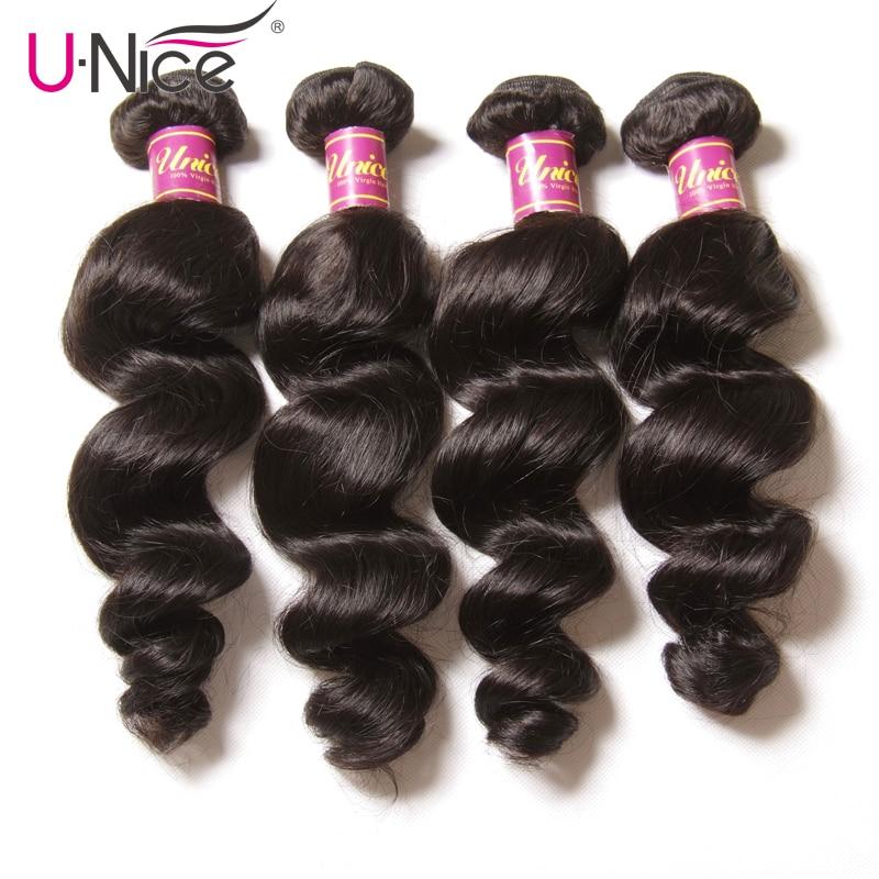 Unice Hair 100 Malaysian Hair Loose Wave Bundles 4 pcs Weft Natural Color Remy Hair Bundles