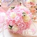 2017 Дешевые Свадебный Букет Невесты Невесты Белый/Розовый/Красный/Фиолетовый Красочные Искусственный Цветок Розы Невесты Букеты buque де noiva