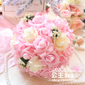 2017 Cheap Wedding Bouquet Bridal Bridesmaid White/Pink/Red/Purple Colorful Artificial Flower Rose Bride Bouquets buque de noiva