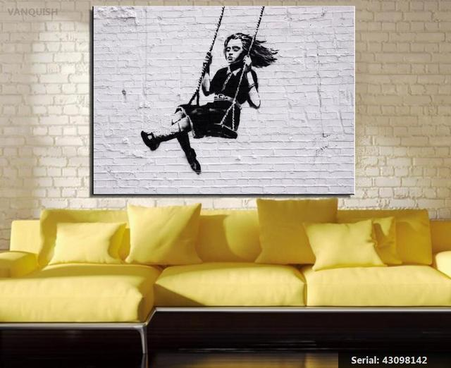 VANQUISH Free shipment banksy swing Art Picture Paint on Canvas ...