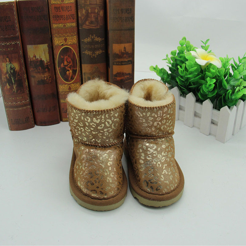NEW 2017 Children's Fur Boots Shoes Autumn Winter Baby Girls Boys Flat Warm Snow Boots with Fringe Baby True Sheep Fur Boots