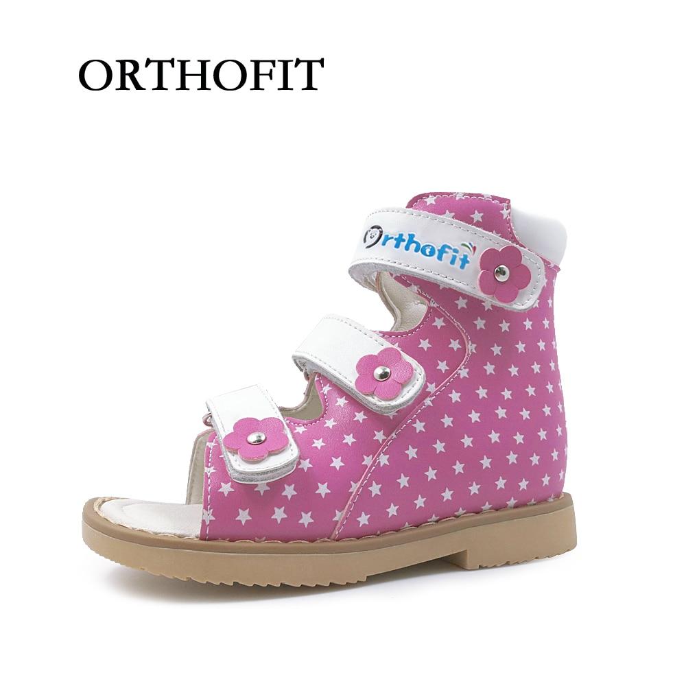 European style children girl hook and loop strap orthopedic sandals footwear flower valgus flat feet shoes for kids
