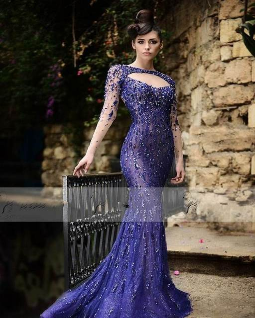 3fdf9f85790d long gorgeous prom gowns light purple elegant long sleeve sexy open back  beading crystal long mermaid evening gown size custom