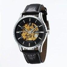 GOER бренд Мужской спортивные часы цифры Моды водонепроницаемой кожи Световой Скелет мужские механические автоматические наручные часы