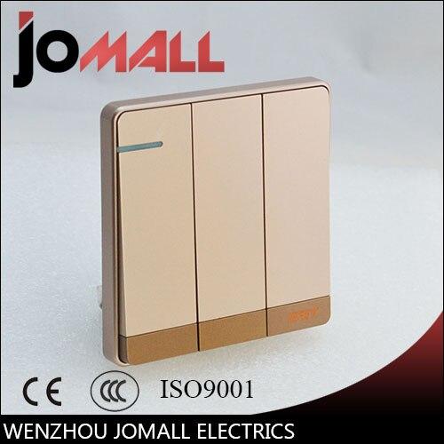 Luxury rose gold slim Wall Switch Panel, Light 3 Gang 2 Way Push Button Rocker  16A,110~250V, 220V