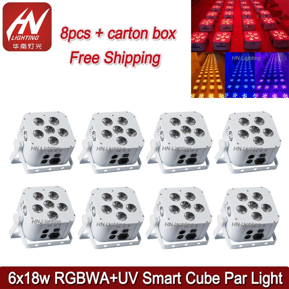 Lumière de pair de cube de batterie de 8 pièces RGBWA UV 6*18 w LED dmx sans fil alimenté par batterie