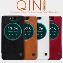 Nillkin QIN Series Leather Case For Asus Zenfone Selfie (ZD551KL) Luxury Brand Use Fine Leather 360 Degree Protection + Package