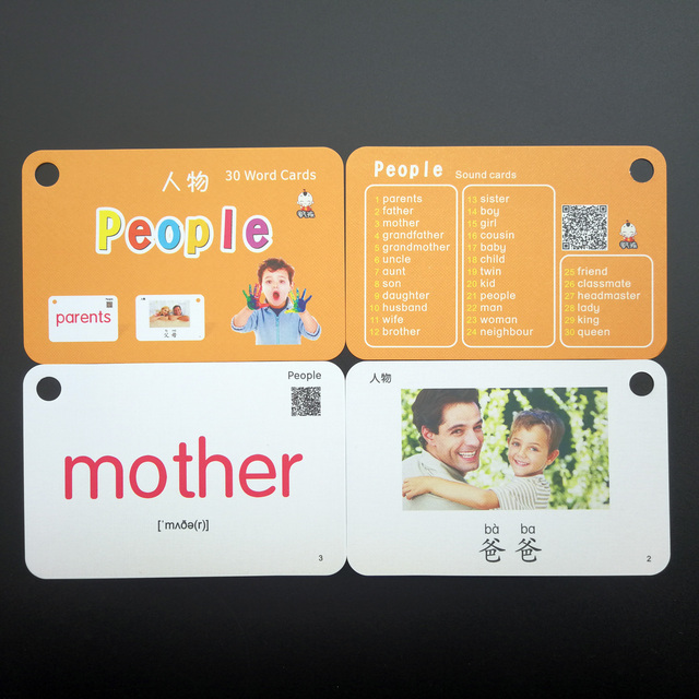32Pcs/Set Family People Kids Montessori Learn English Chinese Word