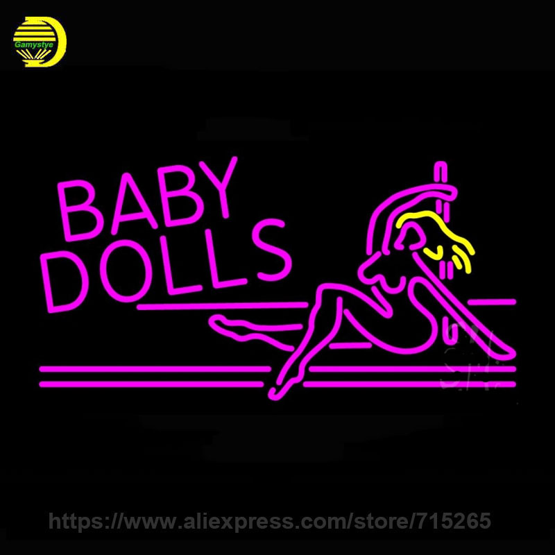 neon sign glass neon signs baby dolls girls strip club decorate window handcraft beer pub iconic