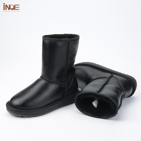 INOE Classic Men Mid-calf Sheepskin Leather Snow Boots Shearling Wool Fur Lined Winter Boots Keep Warm Shoes Waterproof Black Islamabad