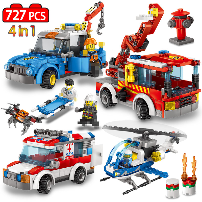 727pcs Ambulance Helicopter Fire Truck Building Blocks Legoinglys City Police Guard Car Figures Bricks Educational Kids Toys