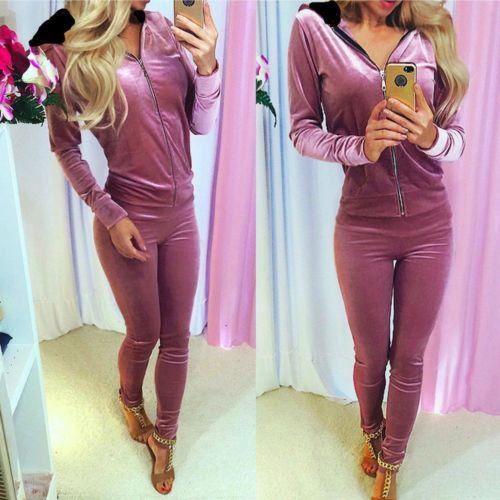 Velvet Women Sets 2017 Fashion Long Sleeve Bodycon Slim Sweat Suits Hoodies Tracksuit Sweatshirt Two Piece Trousers Women