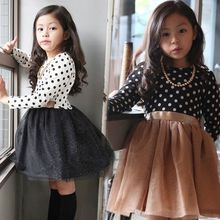 fashion 2016 spring New children's wear Polka Dot Dress For Girl Mesh tutu Dress Baby Dress -Children Clothes 2-7years old