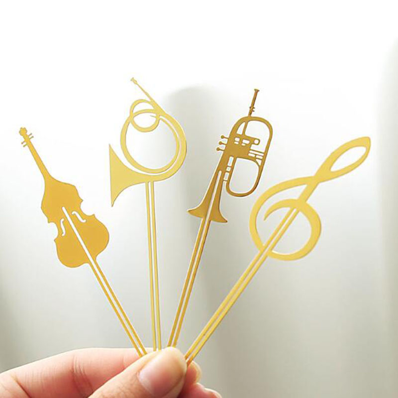 Four Novelty Kawaii Cute Musical Instruments Hollow Bookmark Books Metal Exquisite Office School Supplies Stationery Bookmarks