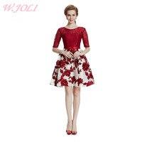 W JOLI 2017 Flowers Embroidery Lace O NECK Short Evening Dress Bride Banquet Elegant Wedding Bridesmaid