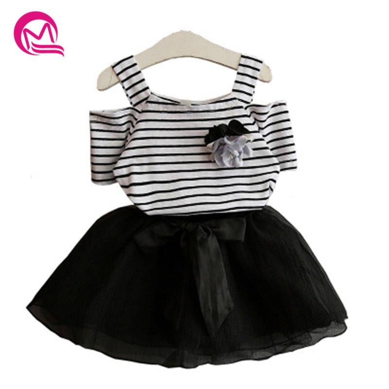 Mq Girl Clothing Set Series 2018 Summer Striper Floral Square Collar Short Sleeve T Shirt Bow Mesh Short Skirt Set K82c288b